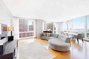 Corner Furnished 2 Bed, 2 Bath at 200 Chambers w/ Hudson River Views