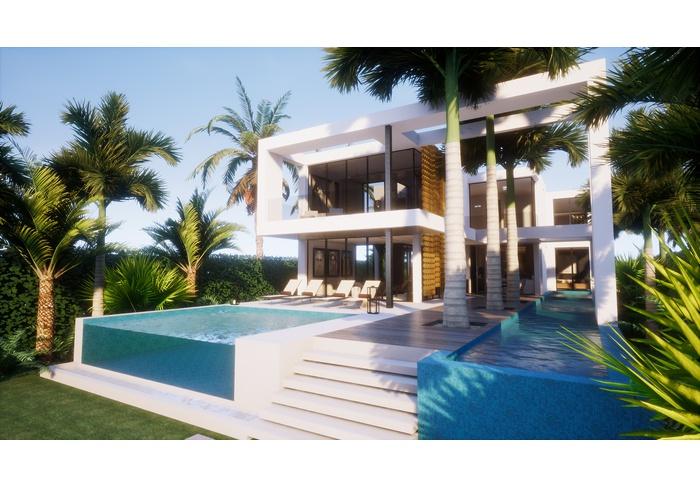 Venetian Island gated community, uniquely designed villa on the water