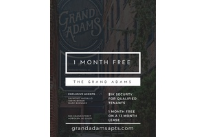 Stunning Spacious Garden Apartment at the Grand Adams!  Laundry In Unit! No Broker Fees!