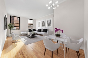 Mint Sun Flooded Large One Bedroom Loft with Home Office Alcove and Soaring 11 foot ceilings in a Full Service Iconic Building in Noho/Greenwich Village.
