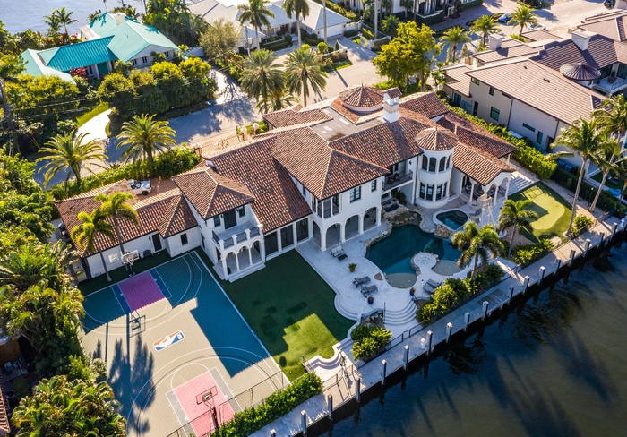 Luxury Mediterranean Estate in Exclusive Gated Community in Fort Lauderdale. Deep Water Frontage for Mega Yacht. Double Lot. NBA Basketball Court. Swimming Pool With Grottos and Water Slide.