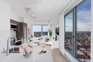 Luxury 1 BD/1BA in Downtown Brooklyn with Floor-to-Ceiling Windows, Light Modern Kitchen with Stone Countertops, W/D, No Fee